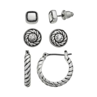 Napier Square and Disc Stud and Twisted Hoop Earring Set