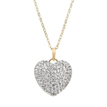 Crystal 14k Gold-Bonded Sterling Silver Puffed Heart Pendant Necklace