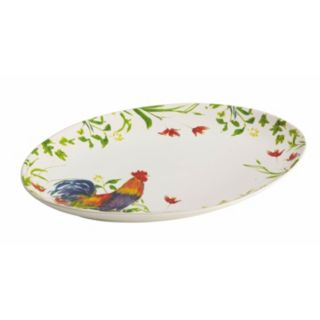"BonJour Meadow Rooster 9.75"" x 14"" Oval Serving Platter"