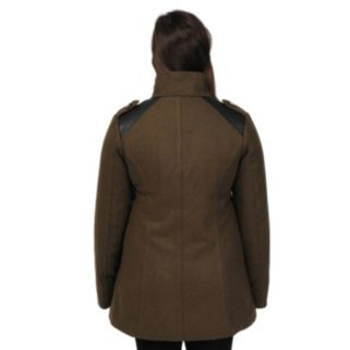 Women's Excelled Mixed-Media Peacoat