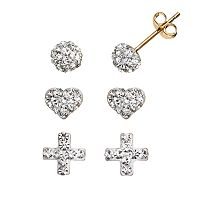 Crystal 14k Gold-Bonded Sterling Silver Swiss Cross, Heart & Button Stud Earring Set