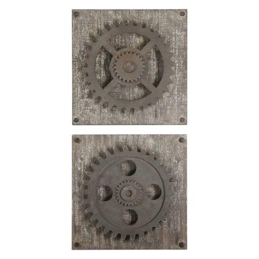 Rustic Gear 2-piece Wall Art Set