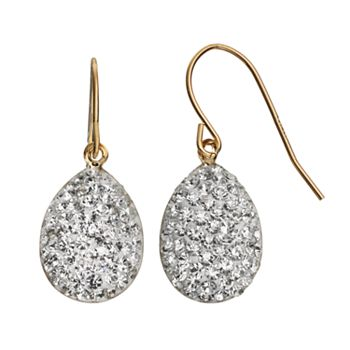 Crystal 14k Gold-Bonded Sterling Silver Teardrop Earrings