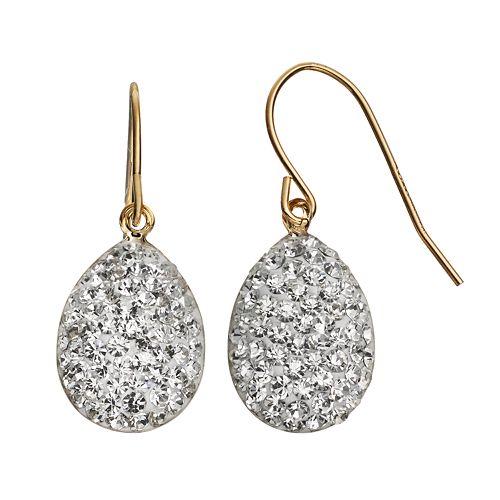Crystal 14k Gold-Bonded Sterling Silver Teardrop Earrings