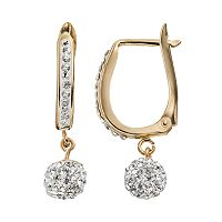 Crystal 14k Gold-Bonded Sterling Silver Ball Drop Earrings
