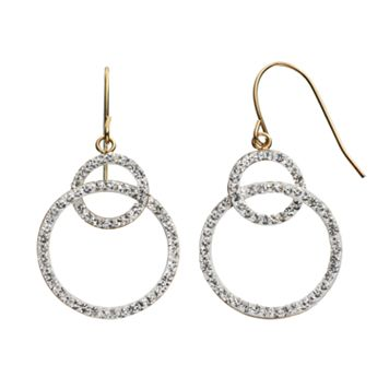 Crystal 14k Gold-Bonded Sterling Silver Interlocking Hoop Drop Earrings