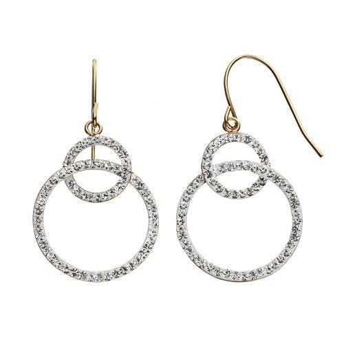 Crystal 14k Gold-Bonded Sterling Silver Interlocking Hoop Drop Earrings