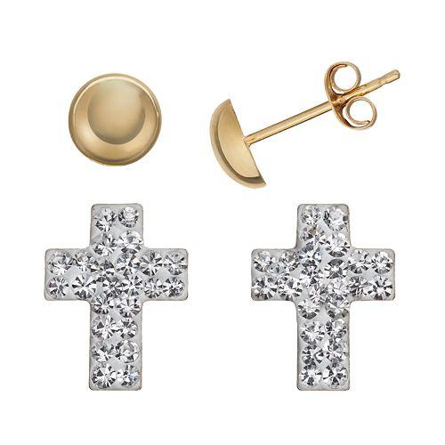 Crystal 14k Gold-Bonded Sterling Silver Cross & Button Stud Earring Set