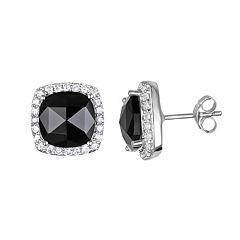 Sophie Miller Onyx & Cubic Zirconia Sterling Silver Cushion Halo Stud Earrings