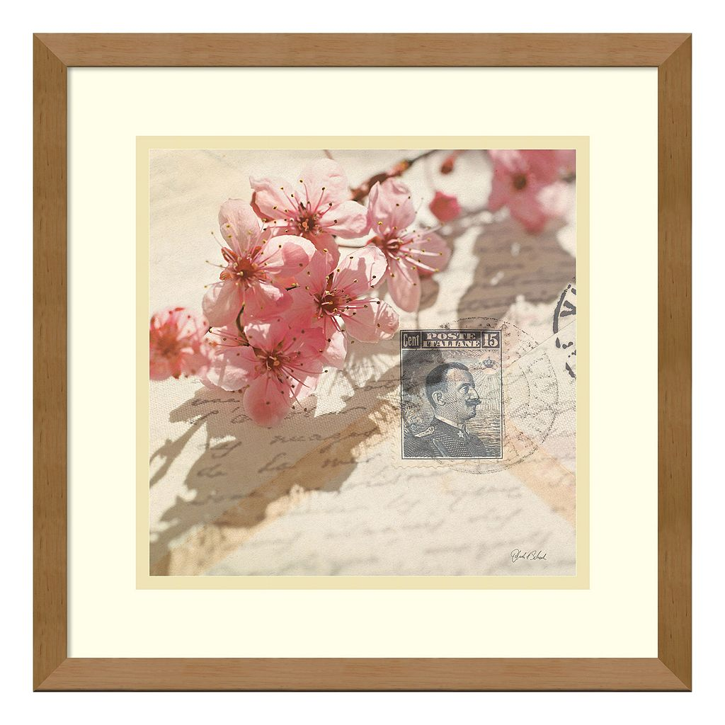 'Vintage Letters & Cherry Blossoms'' Framed Wall Art