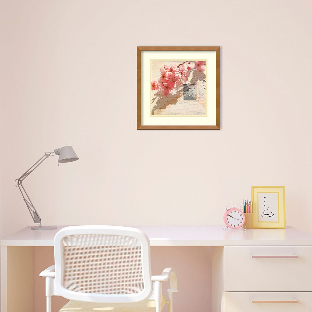 'Vintage Letters and Cherry Blossoms'' Framed Wall Art