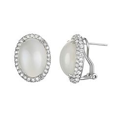Sophie Miller Moonstone & Cubic Zirconia Sterling Silver Oval Halo Stud Earrings