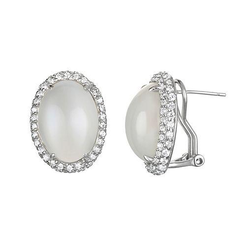 Sophie Miller Moonstone & Cubic Zirconia Sterling Silver Oval Halo Stud Earrings