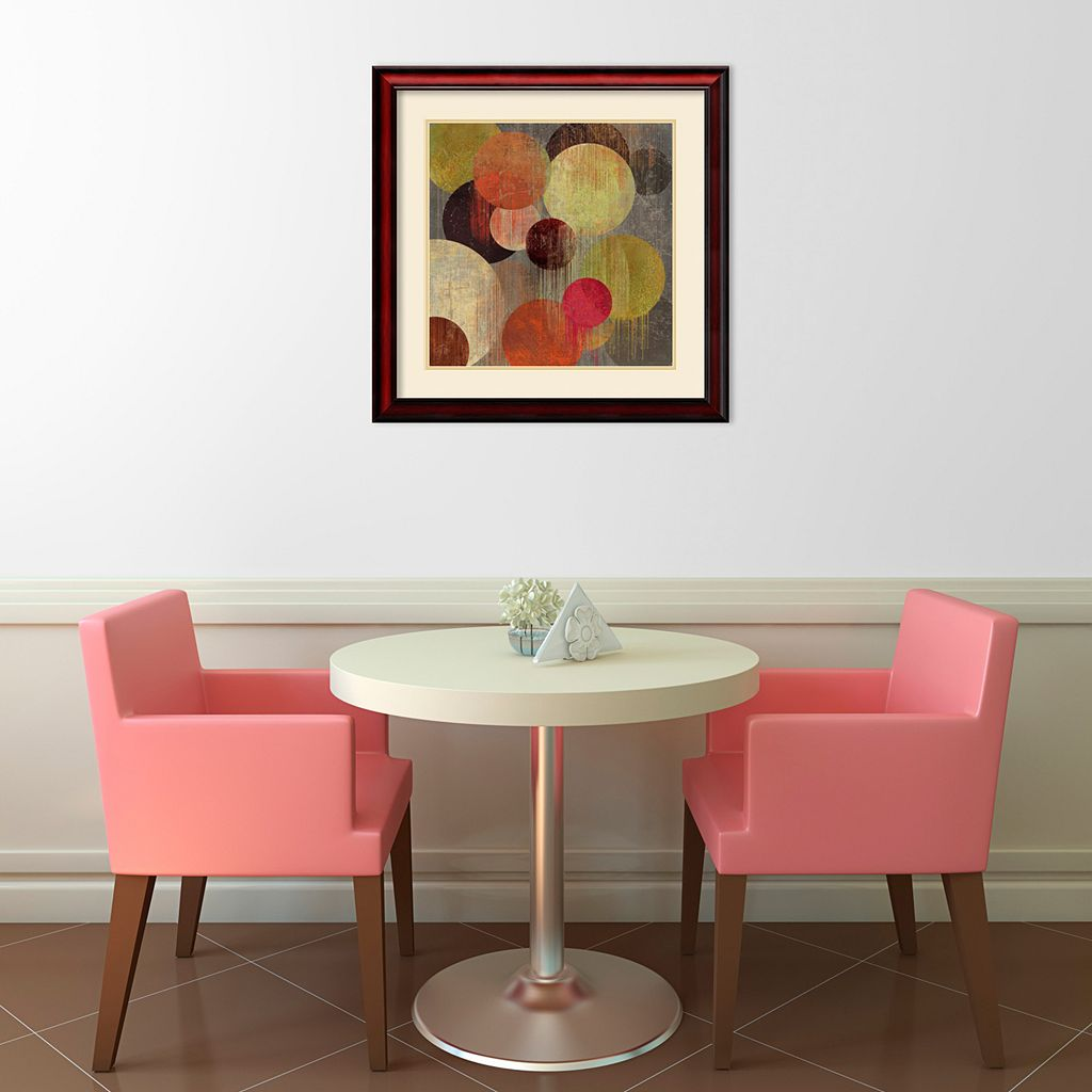 ''Magenta Bubbles I'' Circle Framed Wall Art