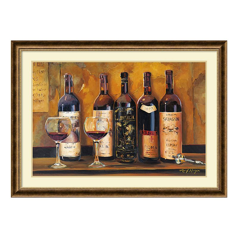 "Cellar Reds"" Wine Framed Wall Art, Brown Oth"