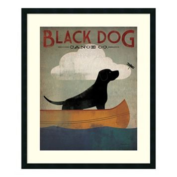 ''Black Dog Canoe'' Framed Wall Art