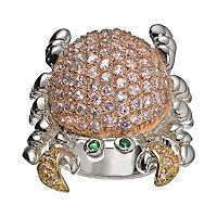 Sophie Miller Simulated Emerald & Cubic Zirconia 14k Gold Over Silver & Sterling Silver Tri-Tone Crab Ring