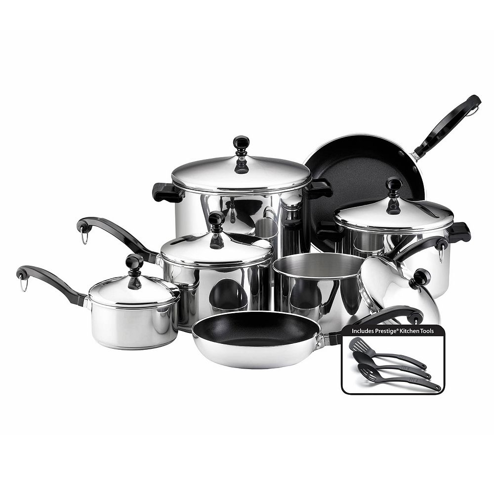 Farberware® 15-pc. Nonstick Stainless Steel Cookware Set