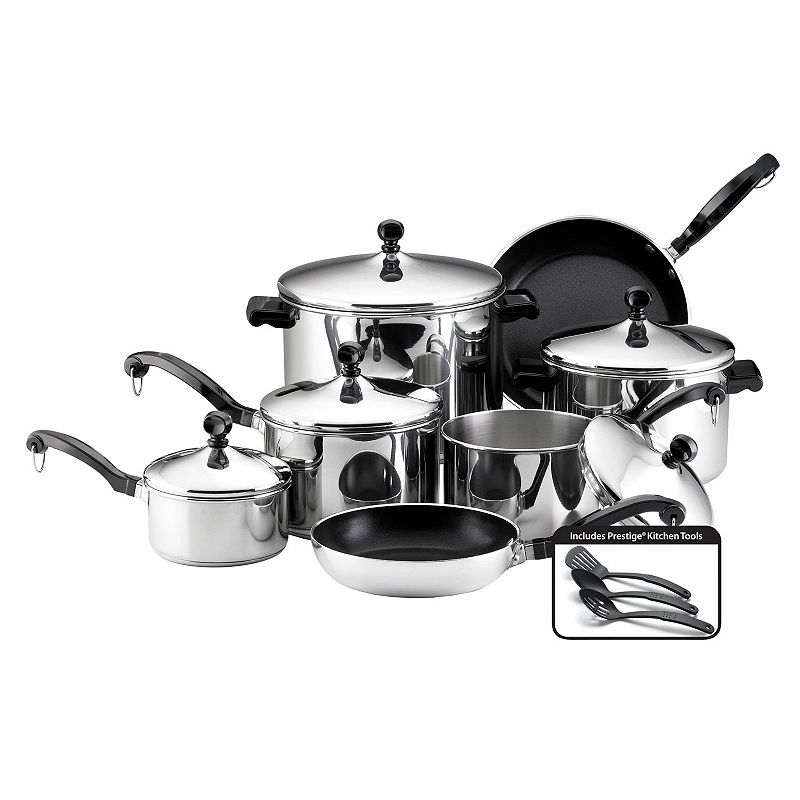 FARBERWARE 15-PC. NONSTICK STAINLESS STEEL COOKWARE SET
