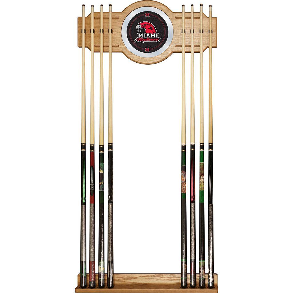 Miami RedHawks Billiard Cue Rack with Mirror