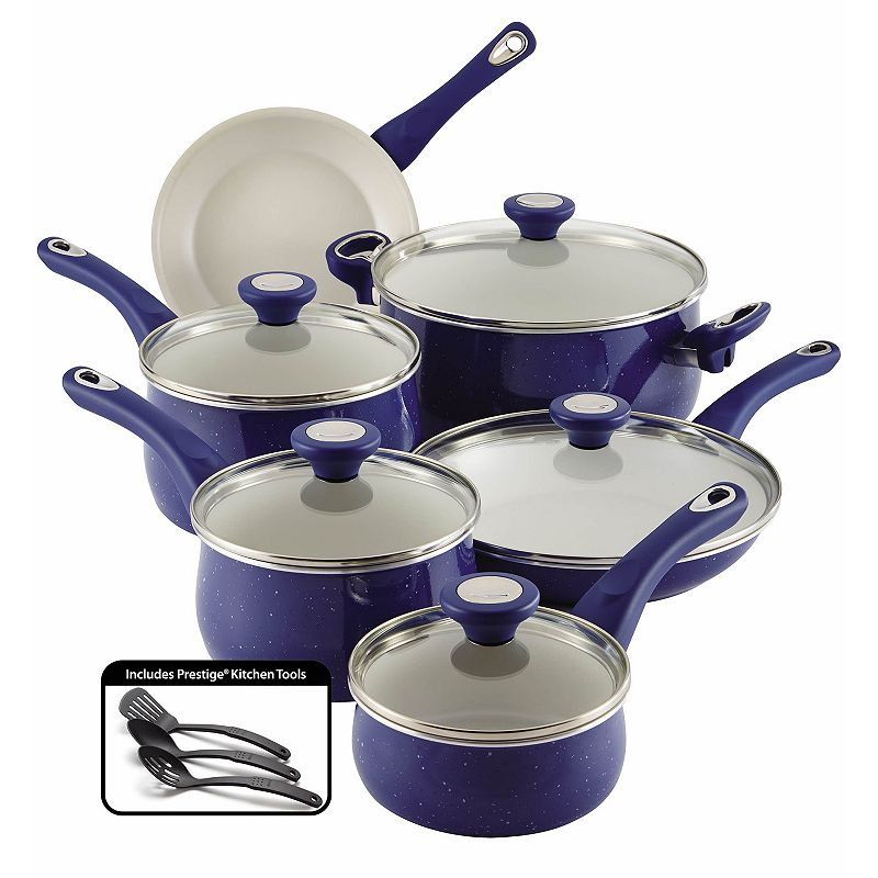 Farberware New Traditions Speckled Aluminum Nonstick 14-pc. Cookware Set (Blue)
