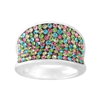 Silver Radiance Crystal Silver-Plated Concave Ring