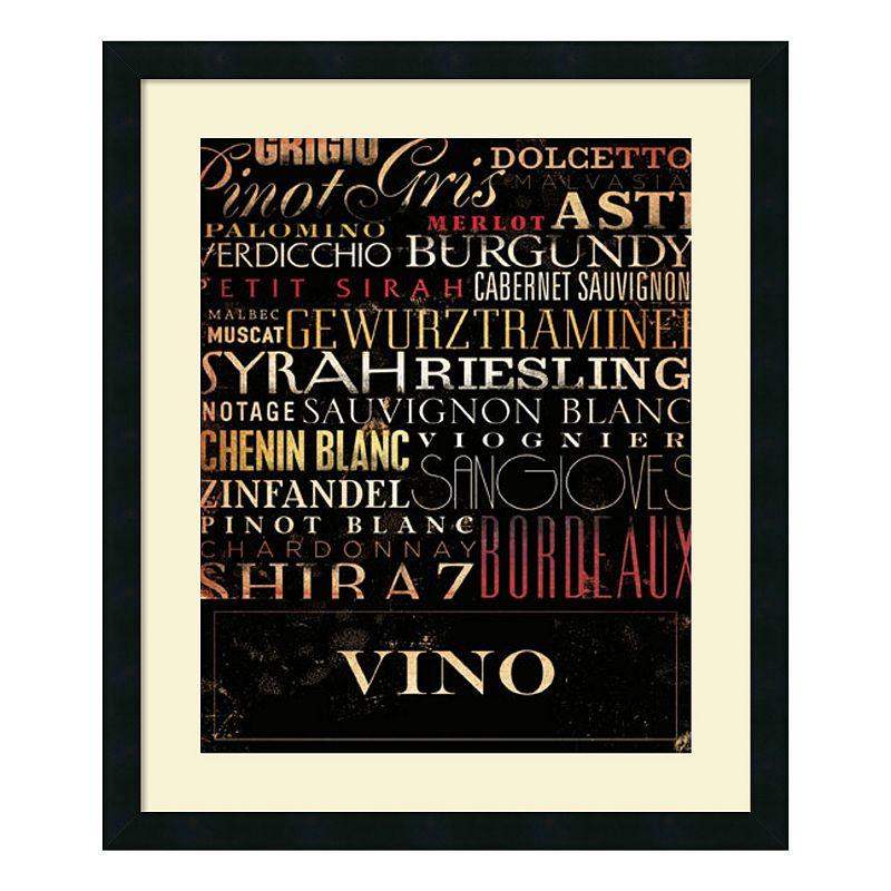 """Vino"""" Wine Framed Wall Art, Black"""