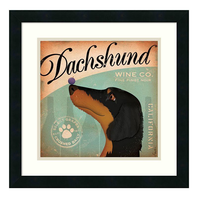 "Dachshund Wine Company"" Framed Wall Art, Black"