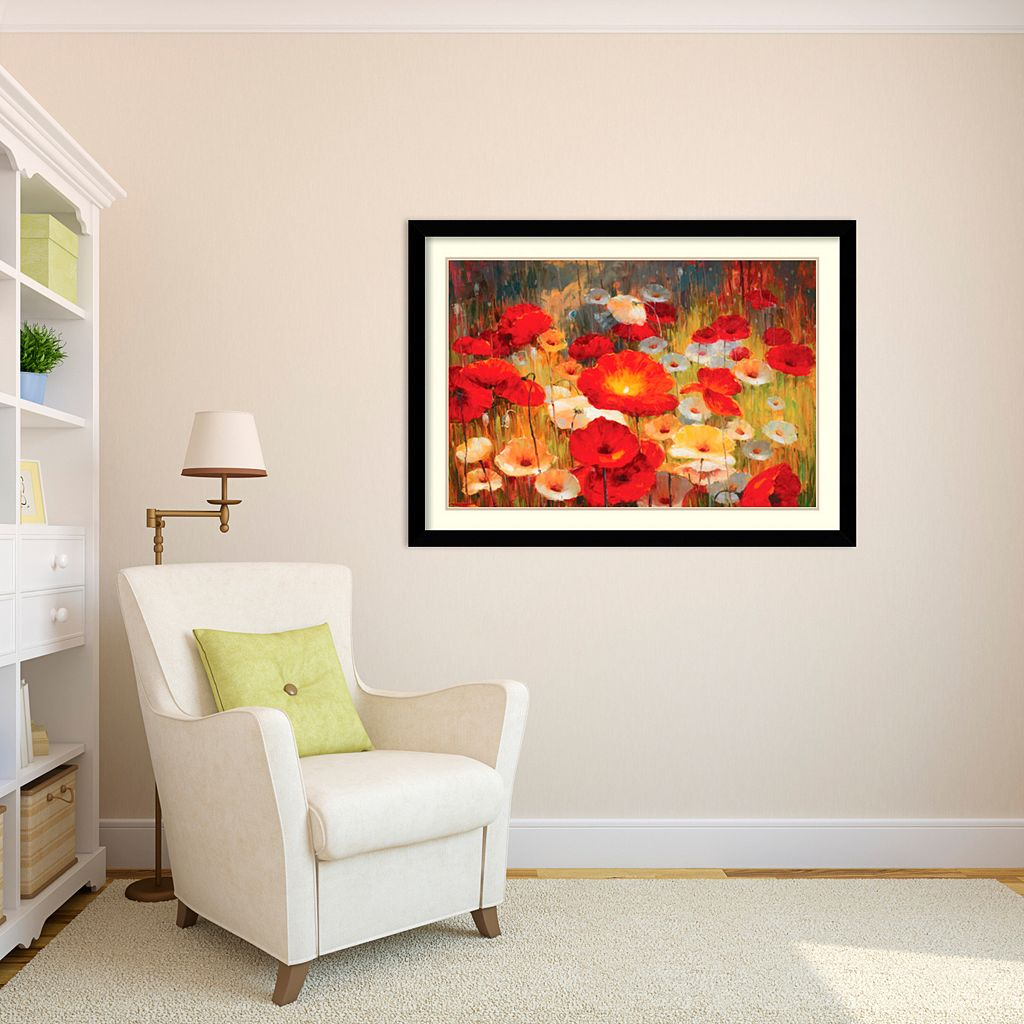 ''Meadow Poppies'' Floral Framed Wall Art