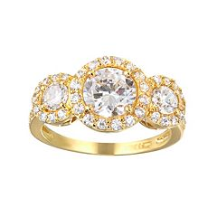 Sophie Miller Cubic Zirconia 14k Gold Over Silver 3-Stone Halo Ring