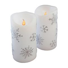 LumaBase 2 pc Snowflake LED Pillar Candle Set