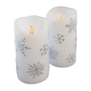 LumaBase 2-piece Snowflake LED Pillar Candle Set