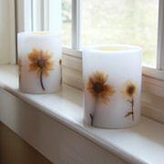 LumaBase 2 pc Floral LED Pillar Candle Set