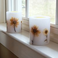 LumaBase 2-piece Floral LED Pillar Candle Set