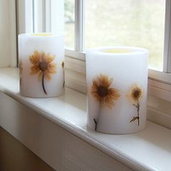 LumaBase 2 pc Floral LED Pillar Candle Set