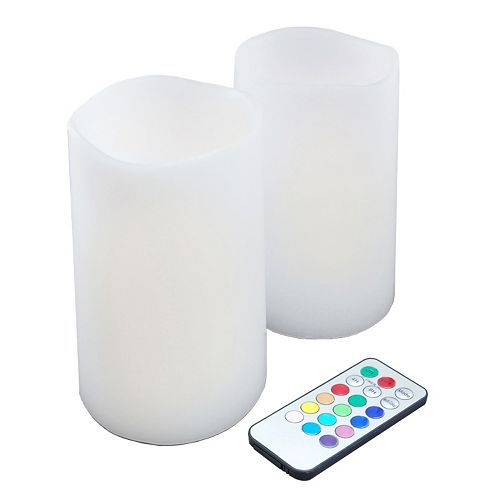LumaBase 3-piece Color-Changing LED Pillar Candle Set