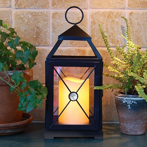 LumaBase Metal Lantern & LED Pillar Candle 2-piece Set