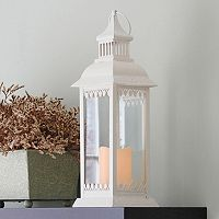 LumaBase 2 pc Metal Lantern & LED Pillar Candle Set
