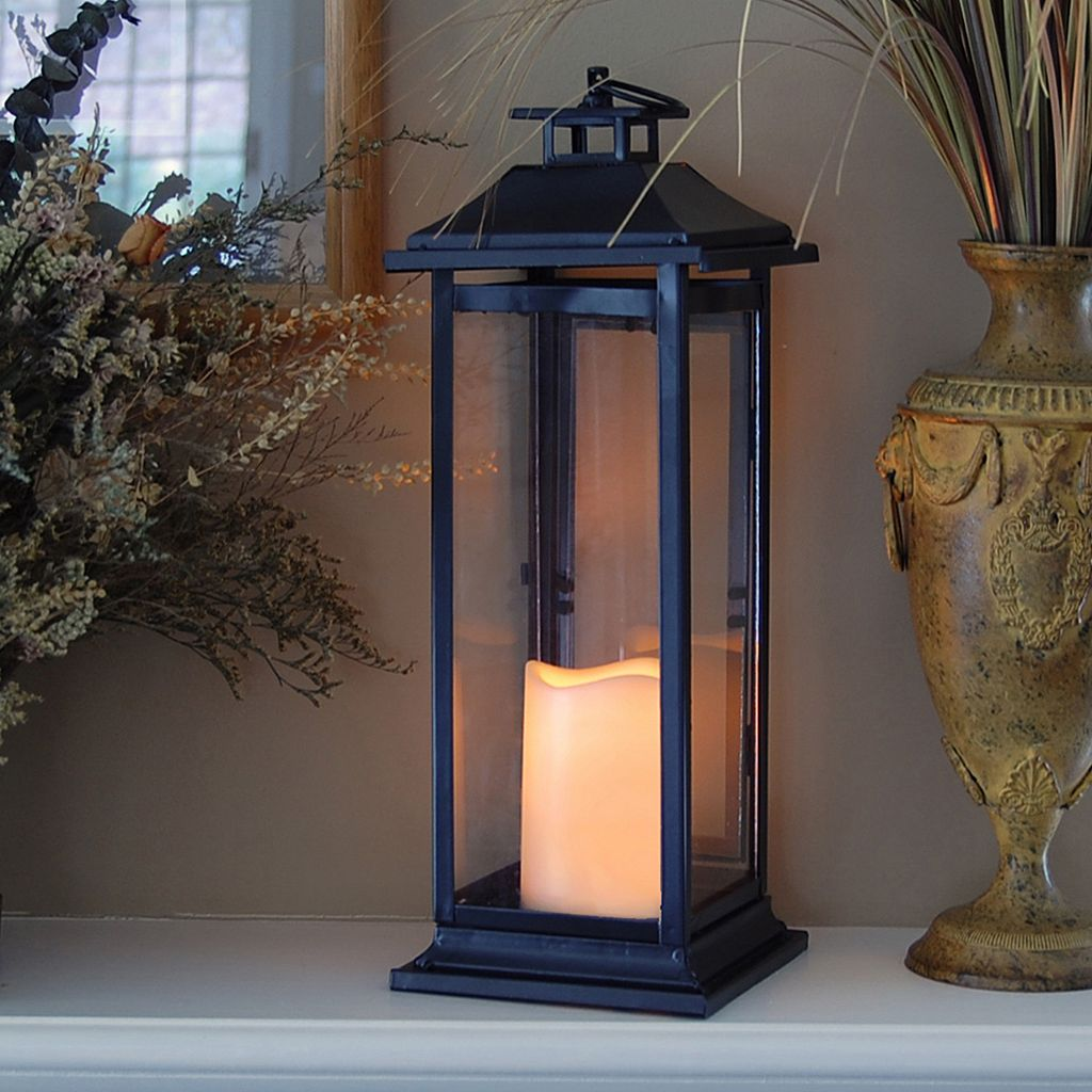 LumaBase 2-piece Metal Lantern & LED Pillar Candle Set