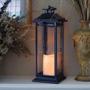 LumaBase 2 pc Metal Lantern & LED Pillar Candle Set
