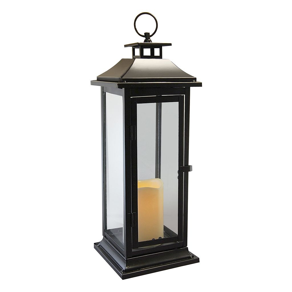 LumaBase 2-piece Metal Lantern and LED Pillar Candle Set