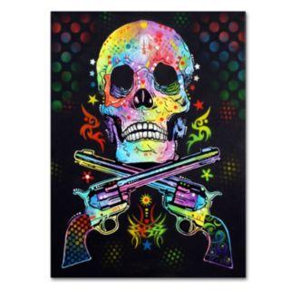 19'' x 14'' ''Skull and Guns'' Canvas Wall Art