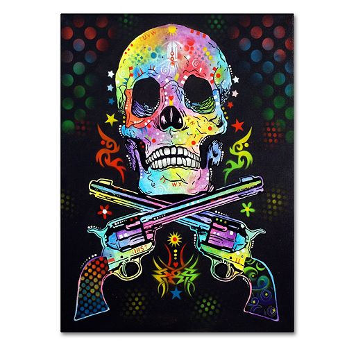 24'' x 18'' ''Skull & Guns'' Canvas Wall Art