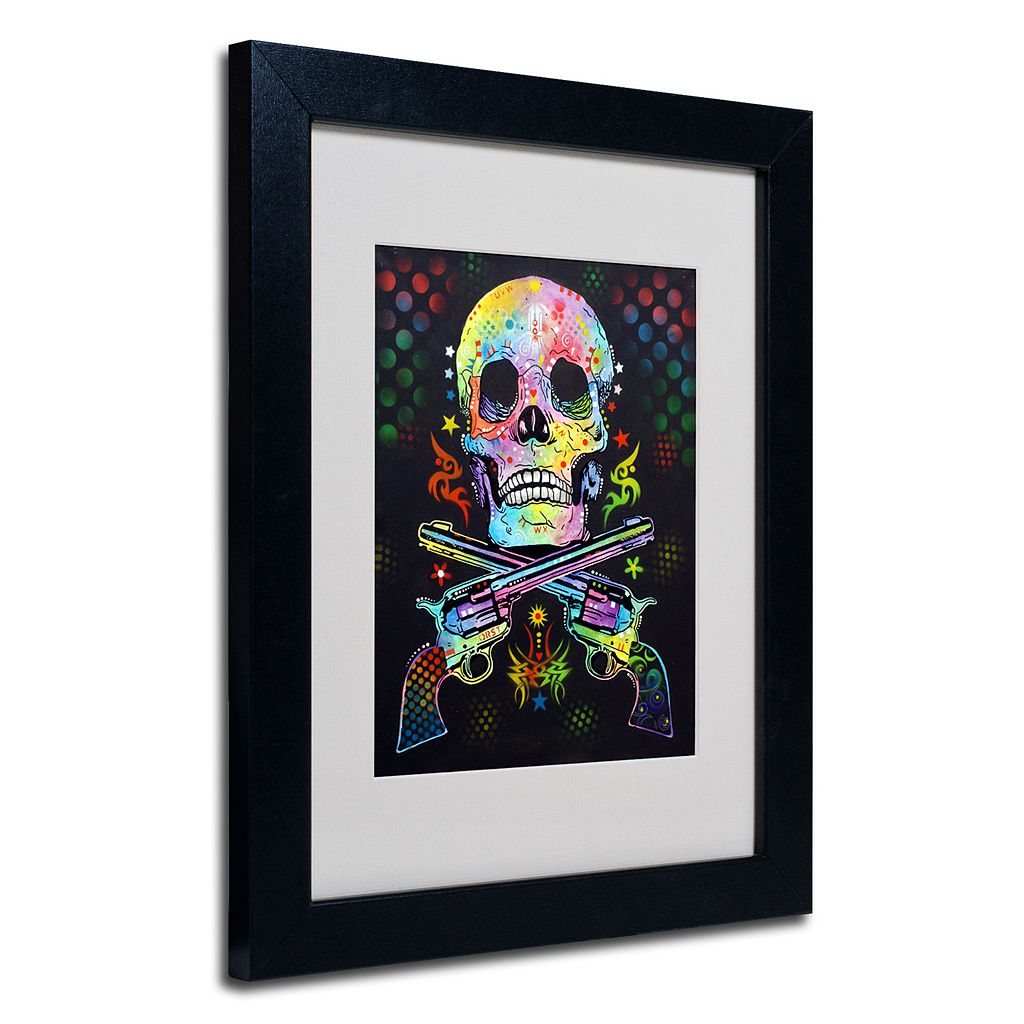 14'' x 11'' ''Skull and Guns'' Framed Canvas Wall Art