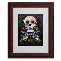 14'' x 11'' ''Skull & Guns'' Framed Canvas Wall Art