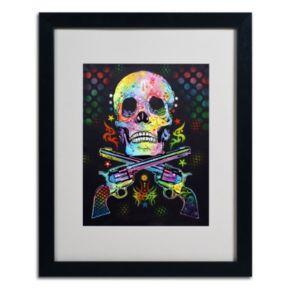 20'' x 16'' ''Skull and Guns'' Framed Canvas Wall Art