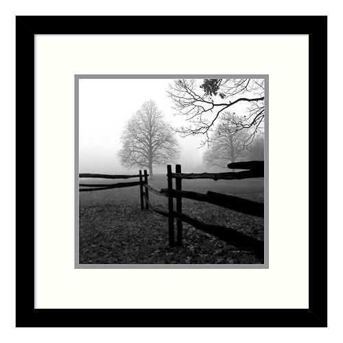 ''Fence In The Mist'' Tree Framed Wall Art