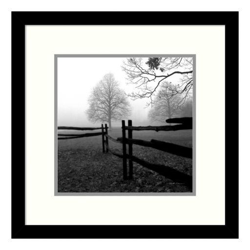 ''Fence In The Mist'' Tree Framed Wall Art
