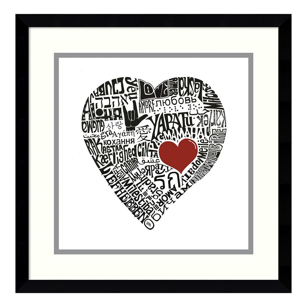 ''Love In 44 Languages'' Heart Framed Wall Art