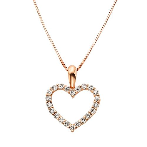 1/4 Carat T.W. IGL Certified Diamond 14k Gold Heart Pendant Necklace